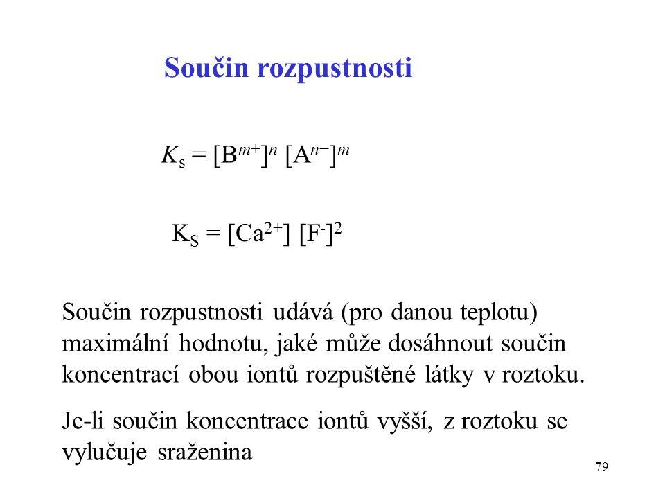 Součin rozpustnosti Ks = [Bm+]n [An−]m KS = [Ca2+] [F-]2